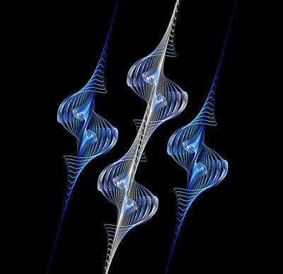 Silver And Blue Spirals Poster by Sandy Keeton
