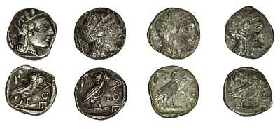 Silver Athena Coins Poster