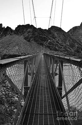 Silver Bridge Over Colorado River At Bottom Of Grand Canyon National Park Black And White Poster by Shawn O'Brien