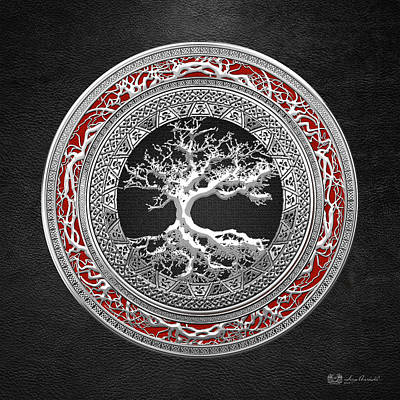 Silver Celtic Tree Of Life Poster by Serge Averbukh