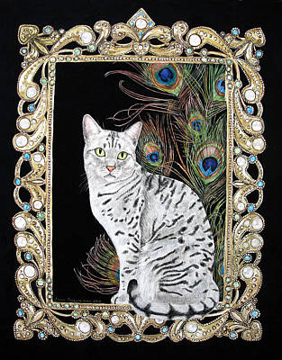 Poster featuring the painting Silver Egyptian Mau by Leena Pekkalainen