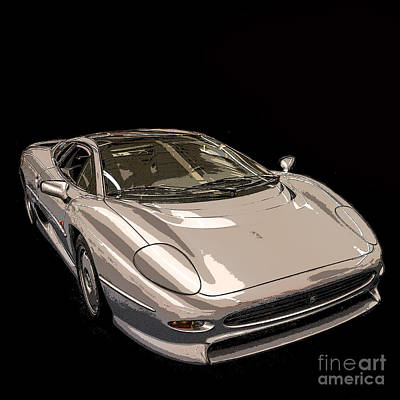 Silver Sports Car Poster