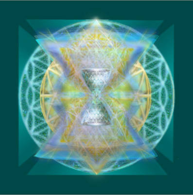 Silver Torquoise Chalice Matrix II Subtly Lavender Lit On Gold N Blue N Green With Teal Poster