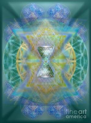 Silver Torquoise Chalicell Ring Flower Of Life Matrix II Poster