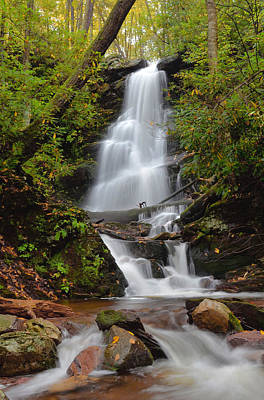 Silverspray Falls In Autumn Poster by Stephen  Vecchiotti