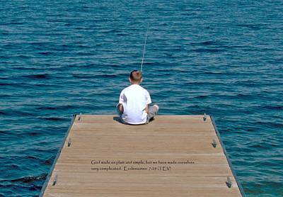 Simple Fishing W/scripture Poster