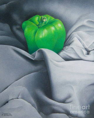 Poster featuring the painting Simply Green by Pamela Clements
