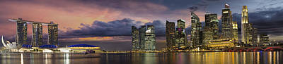 Singapore City Skyline At Sunset Panorama Poster by Jit Lim