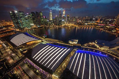 Singapore Downtown Overview At Night Poster by Jaynes Gallery