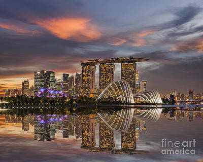 Singapore Skyline Beautiful Sunset Poster