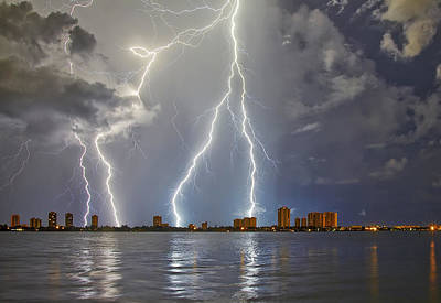 Singer Island Lightning Poster by Island Photos