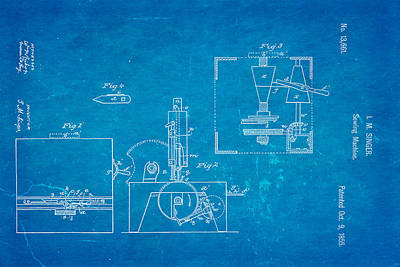 Singer Sewing Machine Patent Art 1855 Blueprint Poster by Ian Monk