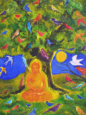 Buddha And The Birds Poster