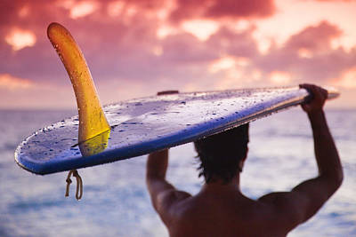 Single Fin Surfer Poster