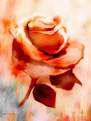 Single Rose Painting Poster by Annie Zeno