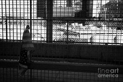 Single Small Memorial Us Flag Tied To The Fence At The World Trade Center Reconstruction Site  Poster by Joe Fox