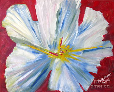 Single White Flower Poster by Judy Morris