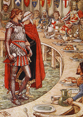 Sir Galahad Is Brought To The Court Of King Arthur Poster by Walter Crane