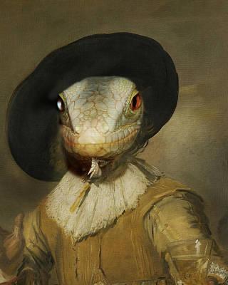 Sir Gecko Poster by Terry Fleckney