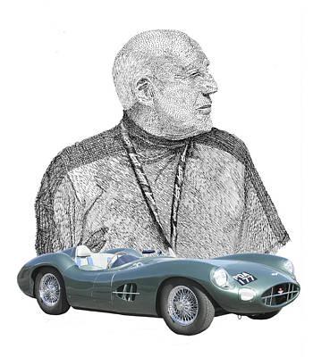 Sir Stirling Moss 1957 Aston Martin Poster by Jack Pumphrey