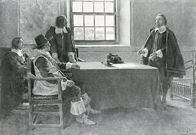 Sir William Berkeley Surrendering To The Commissioners Of The Commonwealth, Illustration From In Poster by Howard Pyle