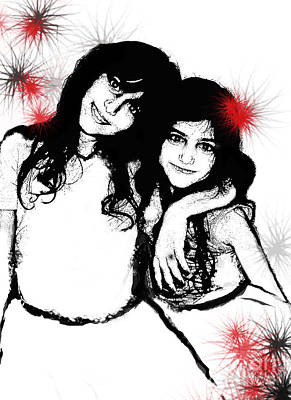 Poster featuring the digital art Sisterly Love by Angelique Bowman