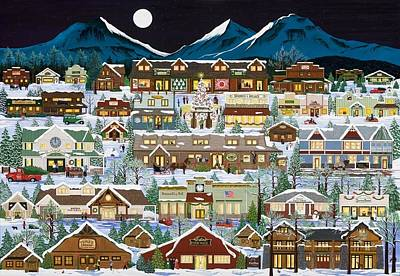 The Village Under The Cascades Poster by Jennifer Lake