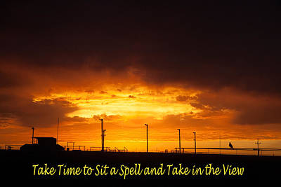 Sit A Spell Sunset Poster by Shirley Heier