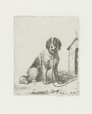 Sitting Dog Chained To A Doghouse, Christiaan Wilhelmus Poster by Christiaan Wilhelmus Moorrees