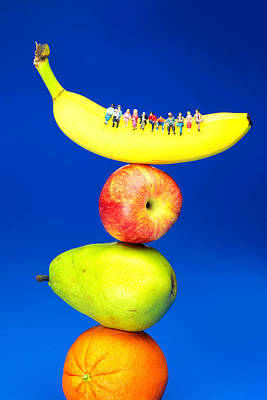 Sitting On Fruits Mountain Little People On Food Poster by Paul Ge