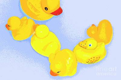 Poster featuring the digital art Six Rubber Ducks by Valerie Reeves