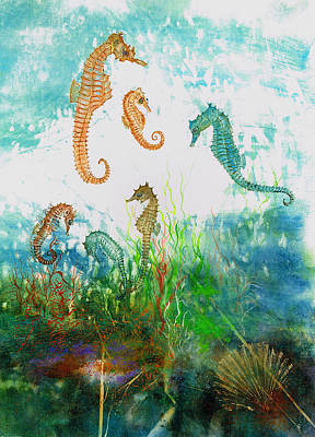 Six Seahorses In A Sea Garden Poster by Nancy Gorr