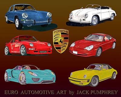 Six Sexy Slick Porsche Automobiles Poster by Jack Pumphrey