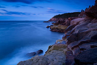 Sixty One Seconds In The Blue Hour Otter Cliffs Acadia National Park Poster by Jeff Sinon