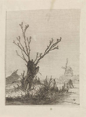 Skater With Sled Near A Willow, Print Maker Johannes Poster
