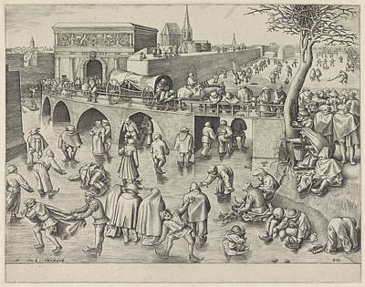 Skating At The Sint-jorispoort Antwerp Belgium Poster by Frans Huys And Pieter Brueghel I And Hieronymus Cock