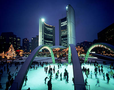 Skating In Nathan Phillips Square, City Poster by Peter Mintz