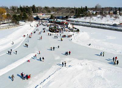 Skating On Dow's Lake At Bronson Bridge Poster