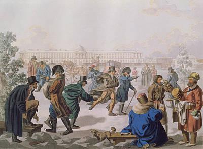 Skating On The Neva Colour Litho Poster by Akim Egorovich Karneev