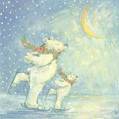 Skating Polar Bears Poster by David Cooke
