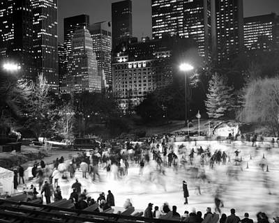 New York City - Skating Rink - Monochrome Poster by Dave Beckerman