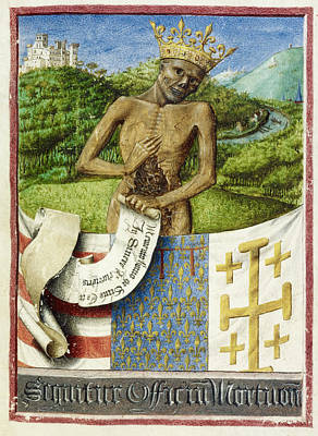 Skeleton; Arms Of Rene D'anjou Poster by British Library