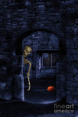 Skeleton At Halloween Poster