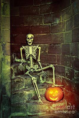 Skeleton On The Steps Poster by Amanda Elwell