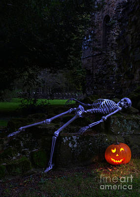 Skeleton With Pumpkin Poster