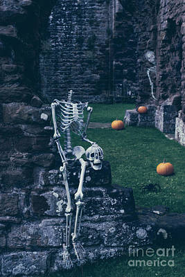 Skeletons In Old Abbey Poster by Amanda Elwell