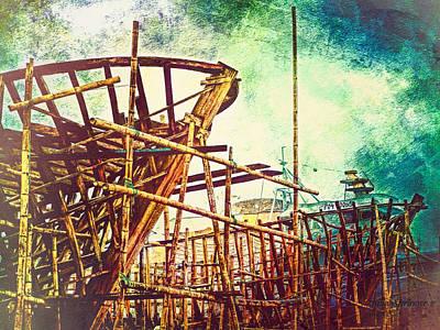 Skeletons In The Yard - Boatbuilding In Ecuador Poster