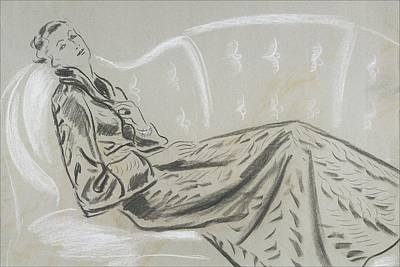 Sketch Of A Woman Wearing A Matelasse House Robe Poster