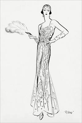 Sketch Of Munoz Wearing Evening Gown Poster by Rene Bouet-Willaumez