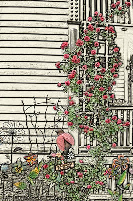 Sketch Of Porch With Climbing Roses Poster by Mary Machare